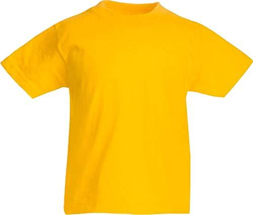 ShirtInStyle Kinder-Shirt Basic UNI Fruit of the Loom, Farbe Gelb, Größe 104