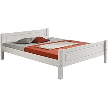Holzbett weiß  Bett SONJA Buche Einzelbett Bettgestell Holzbett weiß lackiert ...