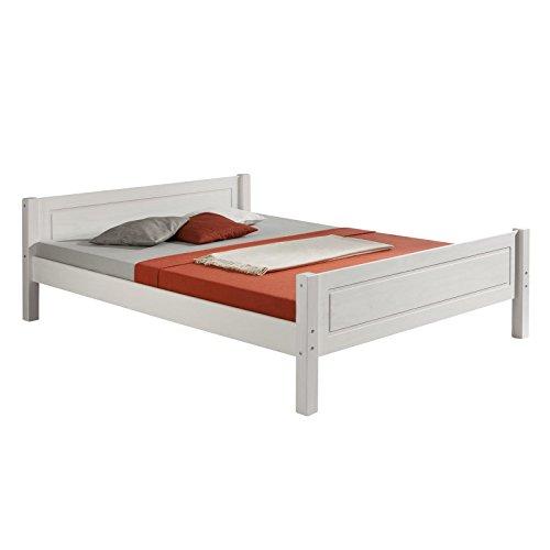 IDIMEX Holzbett Landhausbett Einzelbett Doppelbett Bett Massivholzbett Kinderbett Jugendbett Gästebett Claudio, Kiefer massiv in 120 x 200 cm, weiß