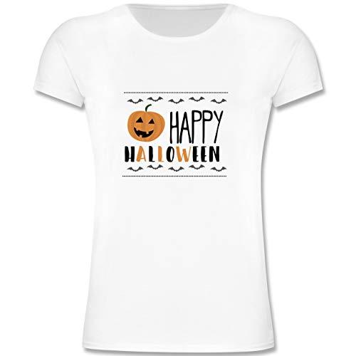 y Halloween Kürbis - 164 (14-15 Jahre) - Weiß - F131K - Mädchen Kinder T-Shirt ()