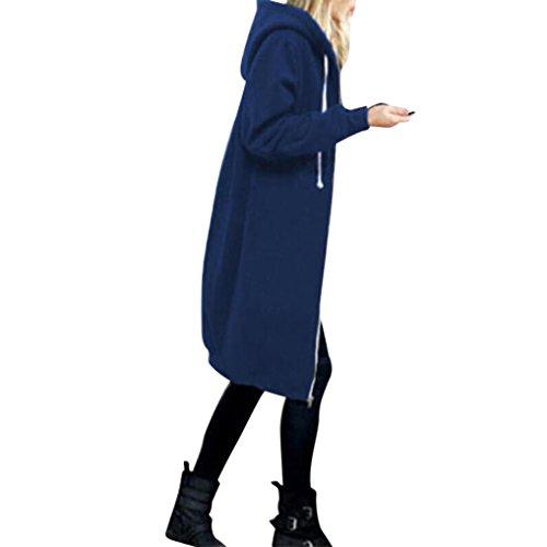Keepwin Femmes Chaud Zipper Ouvert Hoodies Sweat Long Manteau Veste Hauts Outwear Trench-Coat Bleu