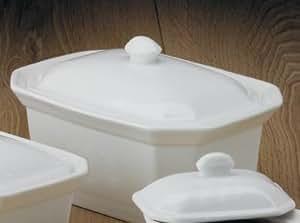 WM Bartleet & Sons Beurrier/plat à terrine en porcelaine avec couvercle Grand modèle