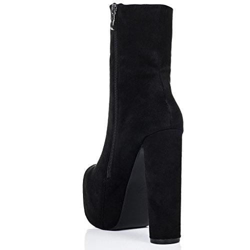 SPYLOVEBUY RUFFLE Femmes Plateforme à Talon Bloc Bottines Chaussures Noir - Simili Daim