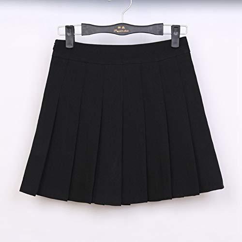 HEHEAB Rock,Schwarze Feder Hohe Taille Ball Faltenröcke Harajuku Röcke Solid A-Line Sailor Rock Plus Size Japanische Schuluniform, Xs -