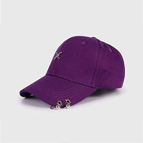 Sherwy 100% Baumwolle Paar Freizeit Sport Hut Golf Laufen Baseballmütze Sonnencreme Atmungsaktiv Outdoor Schatten Kappe Einstellbar Unisex Baseballhut (Color : Purple)