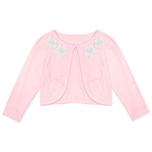 Freebily Mädchen Strickjacke Bolero Cape Kinder Lange Ärmel Schulterjacke Bolerojäckche Pullover festlich weiß/rosa in Größe 86-140 #6 Rosa/Blumen 92-98
