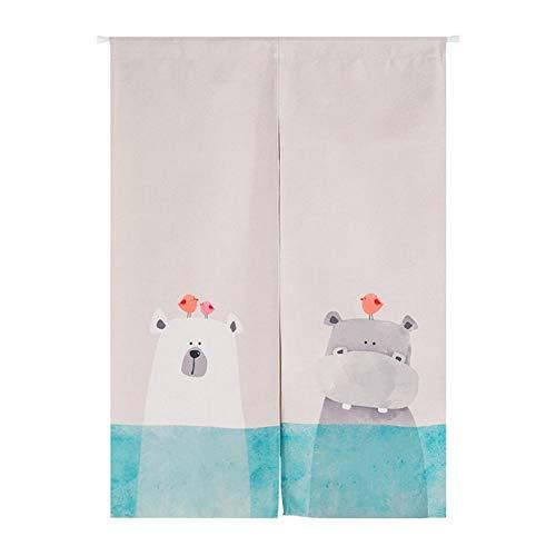 SHUNSHUNML Japanischer Noren Vorhang Bad Bär Und Nashorn Badezimmer Split Tür Vorhang Dekorative Tür Vorhang 85X120Cm - Split Bad Bar