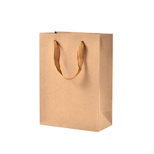 NBEADS 10 STÜCKE Kleine braune Kraftpapiertüte zum Verschenken von Süßigkeiten Tragetaschen mit Tragegriffen zum Geburtstag, Hochzeit, Tea Party und Party Feiern, 20x15x6 cm -