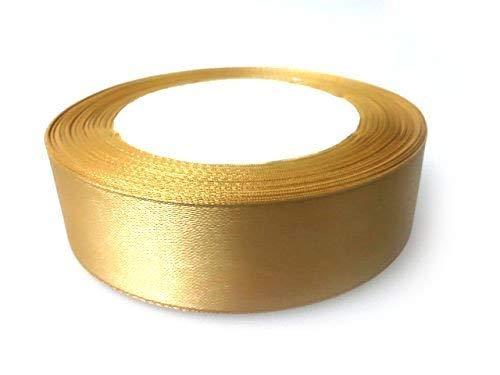 Trimming Shop Doppelseite Satin Polyester Band für Geschenkverpackung Dekoration Künste Handwerk Hochzeit Geburtstagsfeier - Gold, 40mm -