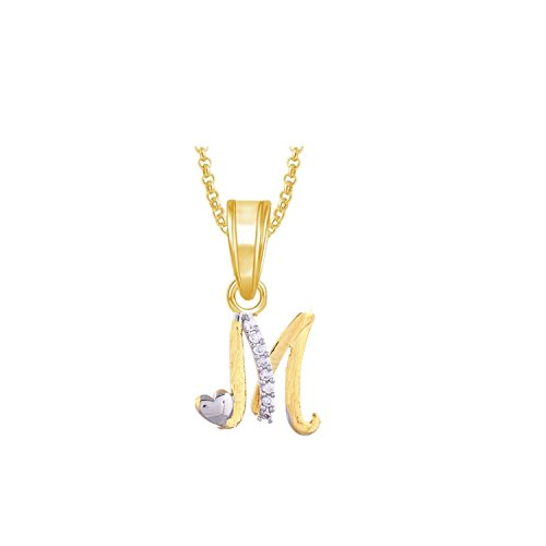 JNB Jewellers valentine collection 'M' Letter Heart Shape American Diamond  Pendant Locket Alphabet For Women And Men With Chain Set Love Valentine