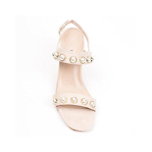 Ideal Shoes Sandales à Talon Carré Effet Daim Incrustées de Strass Luisa Beige