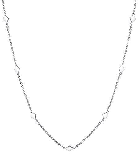 Happiness Boutique Damen Filigrane Kette Rhombus in Silberfarbe | Zarte Kette mit Anhängern Edelstahlschmuck