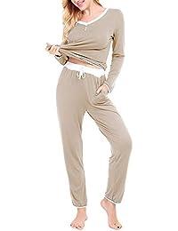 Dromild Womens V-Neck Pajama Set Long Sleeve Top and Pants 2 PJ Loungewear 12a69c8b8