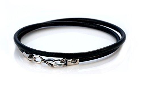 Bico Herren 4mm Schwarzes Lederhalsband 55cm Lang (CL6 Schwarz 55cm) Leder Halskette