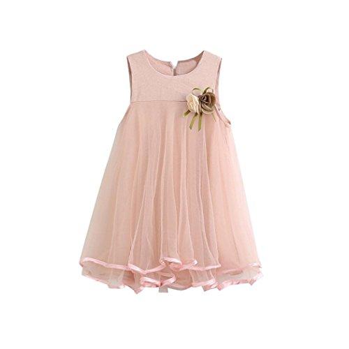 K-youth Vestido de niña, Vestido de Princesa Vestido de Fiesta de cumpleaños de la Boda del Desfile de la Muchacha de la Manera o Vestido de Dama de Honor (Rosa, 6-7 años)