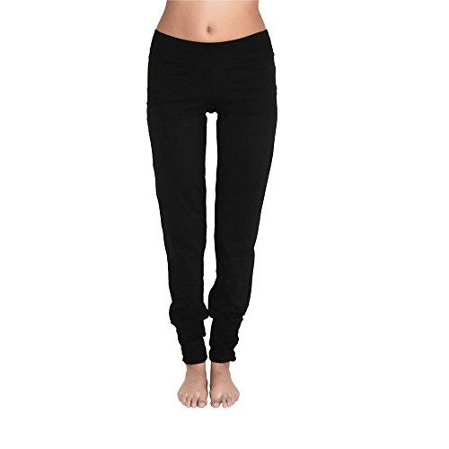 Leela Cotton Damen Freizeit, Yoga Hose Bio-Baumwolle (L, Schwarz)