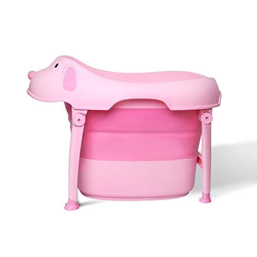 XUEPING Badewanne Für Kinder, Die Tragbare Badewanne Falten, Hauptkarikaturmuster Das Wannen Badet, Doppelte Armlehne Badhocker Große Plastikwanne L74 * B44H * 54cm Rosa
