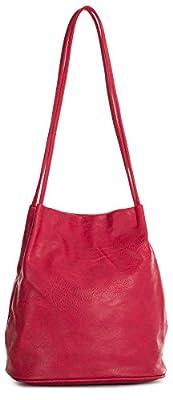 Big Handbag Shop Womans Fashion Designer Medium Size Plain Soft Vegan Leather Hobo Bucket Tote Shoulder Bag - Medium Size