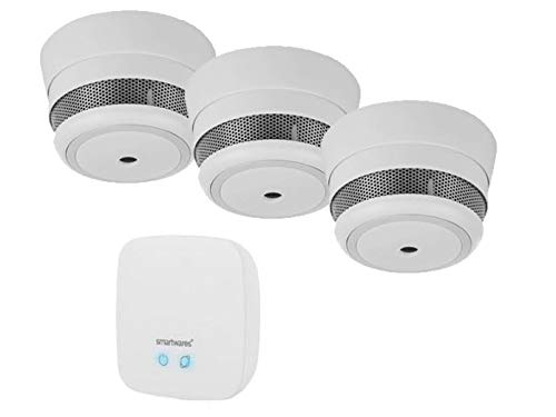 SMART HOME Brandschutz Set: Zentrale & 3x MINI Funkrauchmelder mit ALARM Benachrichtigung aufs Smartphone - über gratis App