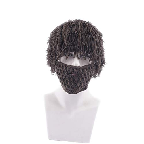Mad Bomber Hat (Perücke Bart Hüte Mad Caveman Handmade Knit Warm Winter Caps Männer Frauen Lustige Party Beanies Brown Kids)