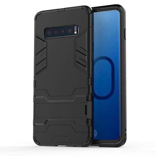 AOBOK Coque Samsung Galaxy S10, Noir Élégant Etui Robuste Hybride Armure Hull Couverture, Anti-Scratch, Parenthèse Pliable Housse pour Samsung Galaxy S10 Smartphone