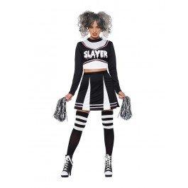 Halloween Gothic Black Cheerleader Kostüm für Damen Small (UK 8-10)