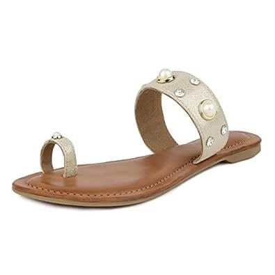 SOLES Women Espadrille Gold Pearl Studded Toe Ring Flats Size 4 UK/India (37 EU)