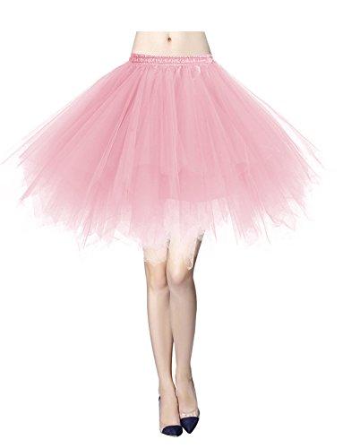 Gardenwed Tutu Damenrock Tüllrock 50er Kurz Ballet Tanzkleid Unterkleid Minirock Reifrock Unterrock Weihnachten Kleid Pink S