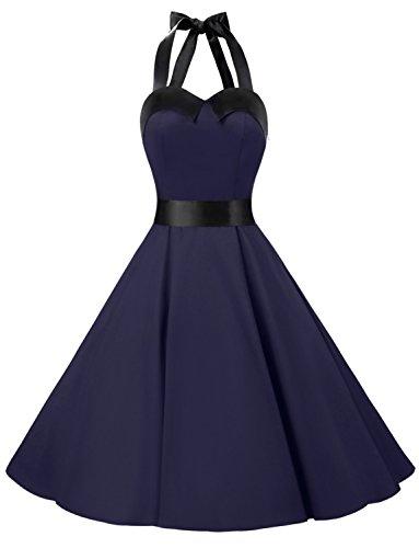 Dressystar DS1957 Robe de Bal Polka Vintage pin-up à 'Audrey Hepburn' 50's 60's Rockabilly Halter,Dos Nu Pure Navy M
