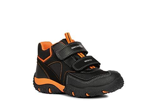 Geox Bambino Alto Baltic Boy WPF, Ragazzo Scarpe Sportive,Scarpa Sportiva,Stivaletto da Ginnastica,Mid-Cut,Traspirante,Black/Orange,36 EU / 3 UK