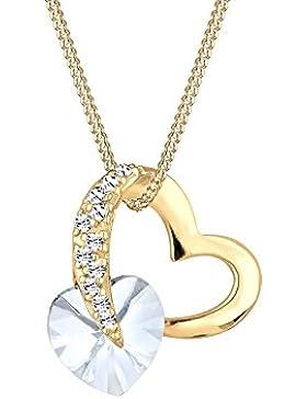 Elli Damen-Kette mit Anhänger Herz Liebe 925 Sterling-Silber Swarovski Kristall Brillantschliff 45 cm