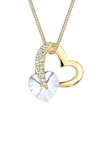 Elli Damen-Kette mit Anhänger Herz 925 Silber Swarovski Kristalle gold Brillantschliff 45 cm - 0103531617_45