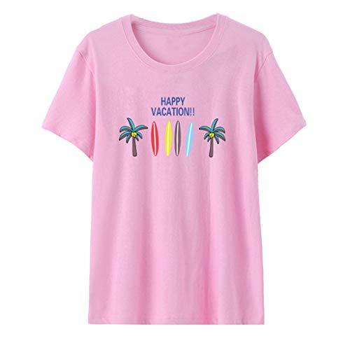 CAOQAO Damen Einfaches Atmungsaktives Laufshirt Muster Casual Kurzarm Rose Gedruckt Top Bluse Crop Tops Shirt Mode LäSsig ()