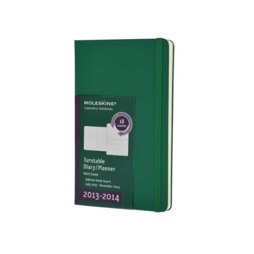 Moleskine - Agenda (18 Meses, Una Semana Por Página, 14 X 9 Cm, Girable), Color Verde