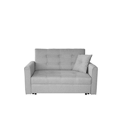 Sofa Viva Lux II mit Schlaffunktion, 2 Sitzer Polstersofa mit Bettkasten inkl. Kissen, Sofagarnitur, Schlafsofa Bettsofa Farbauswahl, Wohnlandschaft (Sofia 18)