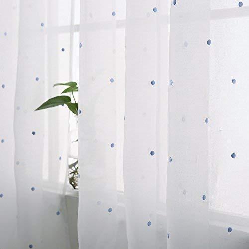 Deconovo Voile Gardinen Ösen Vorhänge Wohnzimmer Dekoschal mit Stickerei Leinenoptik Wohnzimmer 245x140 cm Blau Punkt - Wohnzimmer Blau Für Vorhänge