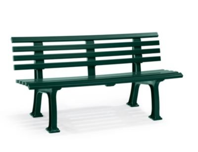 Parkbank aus Kunststoff - mit 9 Leisten - Breite 1500 mm, moosgrün - Bank Bank aus Holz\, Metall\, Kunststoff Bänke aus Holz\, Metall\, Kunststoff Gartenbank Kunststoff-Bank...