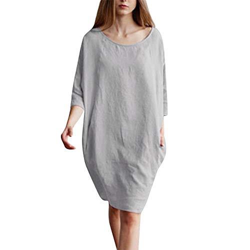 VJGOAL Damen Kleid, Damen Beiläufig Patchwork 1/2 Half Sleeved Baumwollleinen Oversize Loose Pockets Tunika Herbstkleid (Grau, 44)