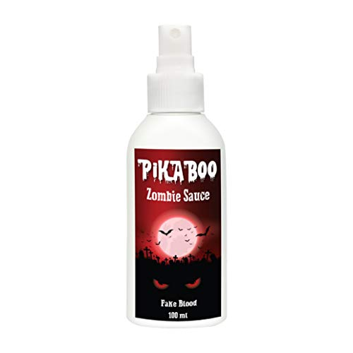 Halloween Kinderschminke Kunstblut von Pikaboo | Zombie Blut Spray 100ml | Festival Ausrüstung & Theaterschminke | Fake Blut für Karneval