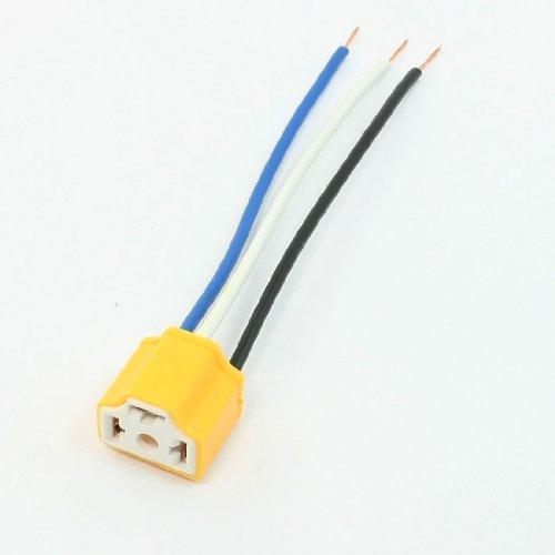 sourcingmap® 5 PC-Auto-Träger-Auto-Licht-Lampe Wohnung 3 Pin H4 Ceramic Sockel Gelber