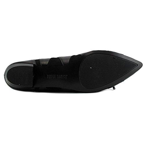 Nine West Tallett Cuir Chaussure Plate Black-Black