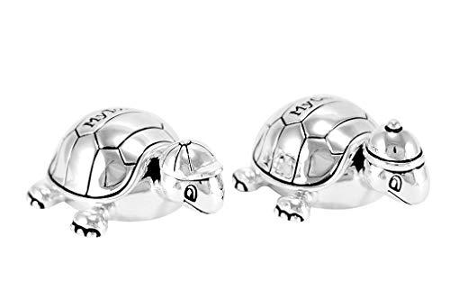 Brillibrum Design Zahndose + Lockendose Geschenk Set Schildkröte Versilbert Anlaufgeschützt Taufe Geburt Baby Erster Zahn Für Mädchen & Jungen (Zahn-und Haardose ohne Gravur)