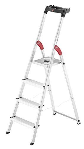 Hailo L60 (8160-407) Alu-Haushaltsleiter, 4 Stufen, EasyClix, Ablageschale, Gelenkschutz, belastbar bis 150 kg