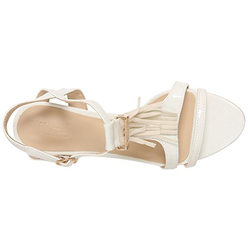 """Unze Les femmes """"Louboutin"""" Fringe Mid High Heel Prom Parti obtenir ensemble Bureau Carnaval Sandales Soirée UK Size 3-8 Blanc"""
