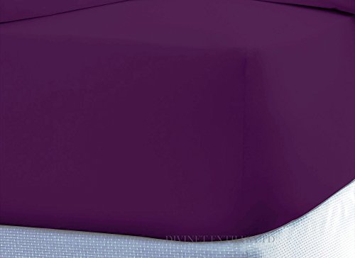 Divine Textiles® Percale Flat Bed Sheet Non Iron Easy Care (Double, Purple)