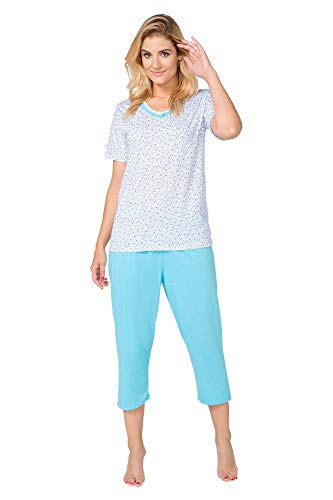 Big Size Pyjamas Damen Schlafanzug Pyjama Set in großen Größen (2XL - 6XL) Tops Shirt Shorts aus Baumwolle mit Motivdruck (3XL, BeComfy Alice Blau Klein Blume) -