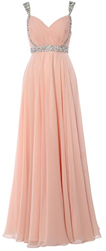 MACloth Women Straps V Neck Chiffon Long Prom Dress 2017 Evening Formal Gown Zartrosa