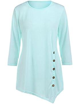 Lenfesh Para Mujer Camisas Largo Jersey tallas grandes Cuello Redondo casual,tamaño grande y delgado