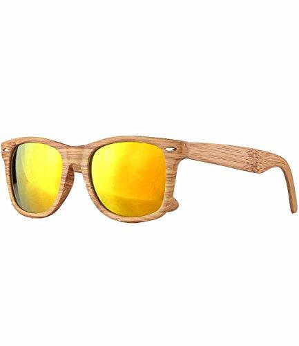 Caripe Retro Nerd Vintage Sonnenbrille verspiegelt Damen Herren 80er - SP (Holzoptik Natur - Sun verspiegelt)