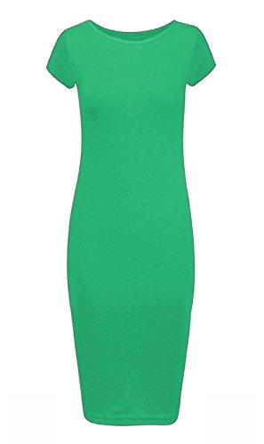 Neuf pour femmes Taille plus bodycon Uni à manches Cap courtes Maxi Midi Robe taille UK 8–26 Vert Jade